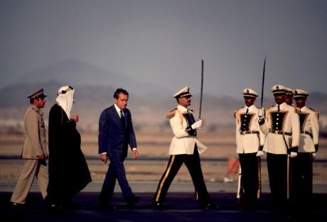 President Nixon walks with Saudi King Faisal in Saudi Arabia in June 1974. AP photo.jpg